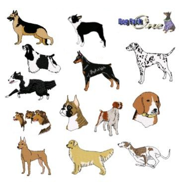 embroidery designs - dog pack